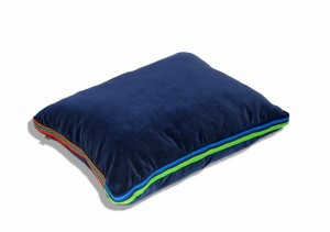 Navy Blue Glamour Cushion with addition of folk Lowicz fabric, 55x45x3,5cm